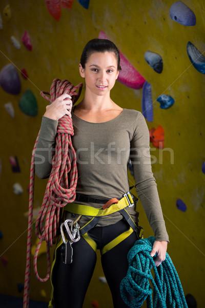 Feliz mujer cuerda fitness estudio retrato Foto stock © wavebreak_media