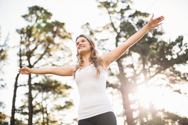 Fiatal boldog kocogó éljenez természet nő Stock fotó © wavebreak_media