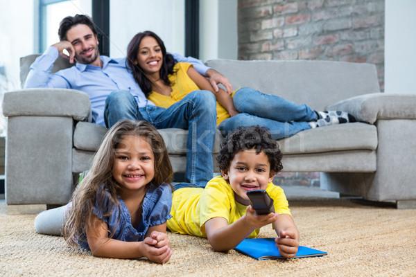 Gülen aile oturma odası bakıyor tv çocuklar Stok fotoğraf © wavebreak_media