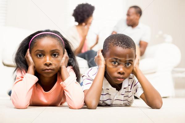 несчастный дети сидят полу Сток-фото © wavebreak_media