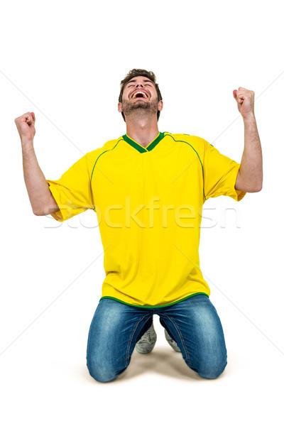 Przystojny mężczyzna ręce biały ekranu człowiek uśmiechnięty Zdjęcia stock © wavebreak_media