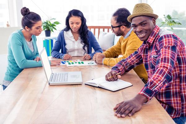 Portret zakenman vergadering collega's bespreken creatieve Stockfoto © wavebreak_media