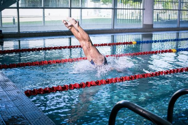 соответствовать человека дайвинг бассейна воды счастливым Сток-фото © wavebreak_media