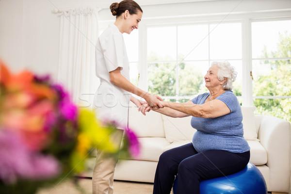 Foto stock: Cuidar · doente · idoso · paciente · casa