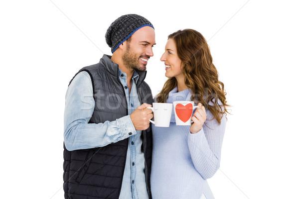 Heureux tasse de café blanche homme Photo stock © wavebreak_media