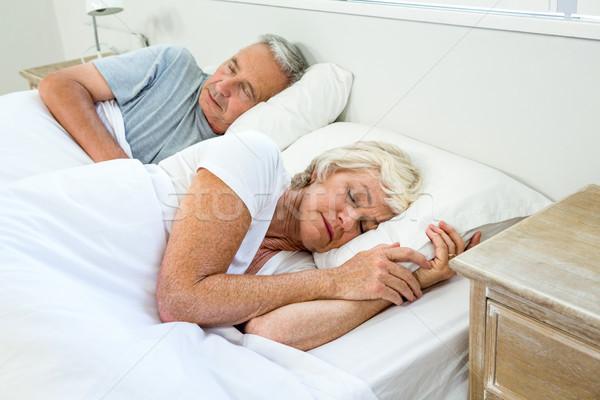 Magasról fotózva kilátás idős férfi nő alszik Stock fotó © wavebreak_media