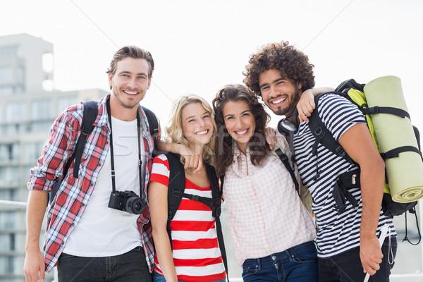 Portret vrienden glimlachend terras permanente arm Stockfoto © wavebreak_media