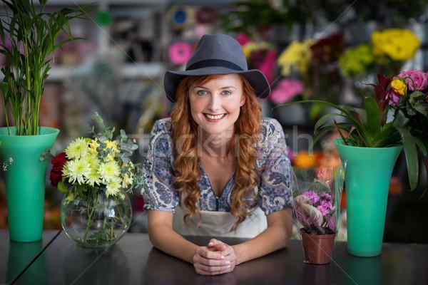 Mutlu kadın çiçekçi portre Stok fotoğraf © wavebreak_media