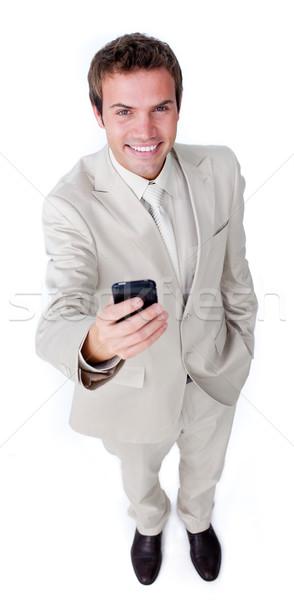 Mosolyog karizmatikus üzletember küldés szöveg fehér Stock fotó © wavebreak_media