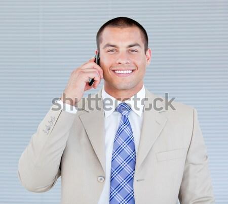 Stockfoto: Portret · geslaagd · zakenman · telefoon · witte · kantoor