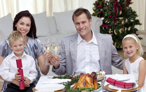 Stockfoto: Ouders · wijn · christmas · diner · home