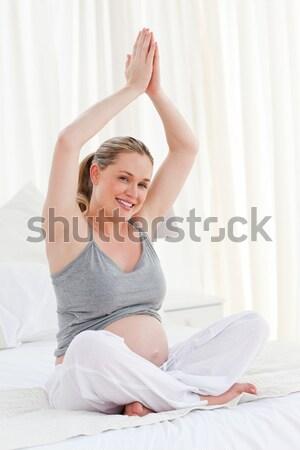 沉思 床 女子 女孩 性感的 商業照片 © wavebreak_media