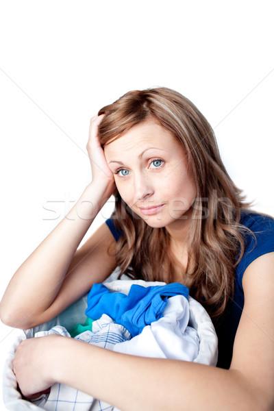 Mulher lavanderia isolado branco casa Foto stock © wavebreak_media