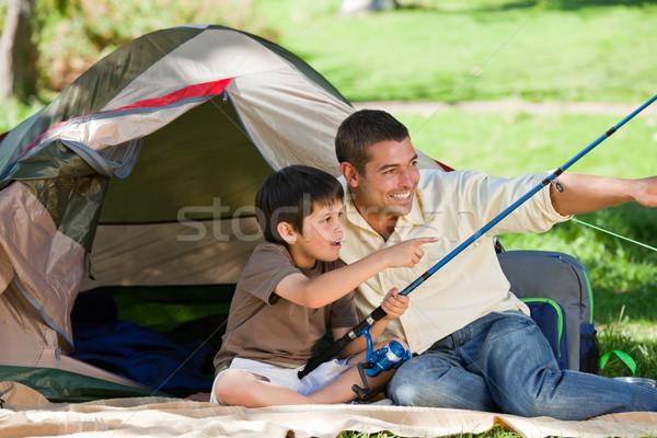 Oğul balık tutma baba oğul baba sevmek çocuk Stok fotoğraf © wavebreak_media