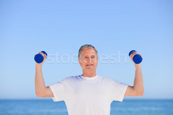 érett férfi tengerpart férfi egészség személy nevet Stock fotó © wavebreak_media