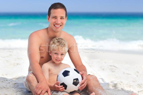 Photo stock: Fils · jouer · football · père · en · fils · père · plage