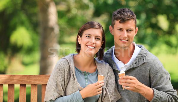 Young couple eating an ice cream Stock photo © wavebreak_media
