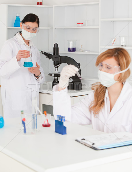 Dark-haired and blond-haired scientists conducting an experiment in a lab Stock photo © wavebreak_media