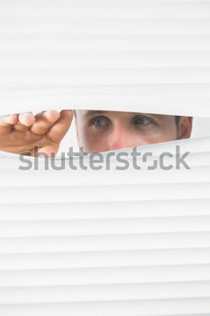 Barna hajú üzletasszony ki ablak iroda arc Stock fotó © wavebreak_media