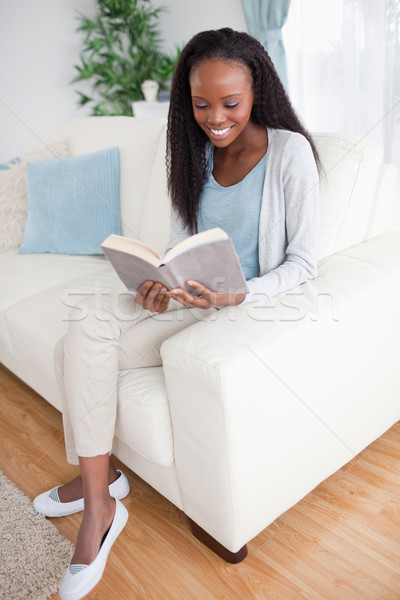 Foto d'archivio: Donna · sorridente · divano · lettura · libro · home · lounge