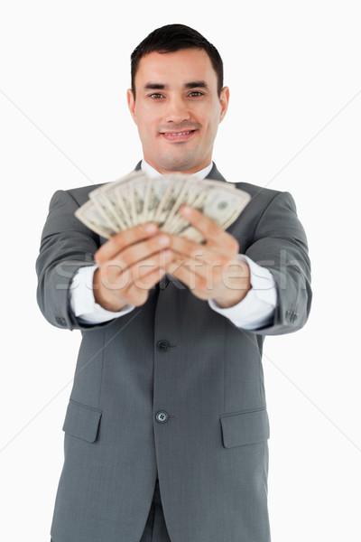 Gülen işadamı banka notlar beyaz Stok fotoğraf © wavebreak_media