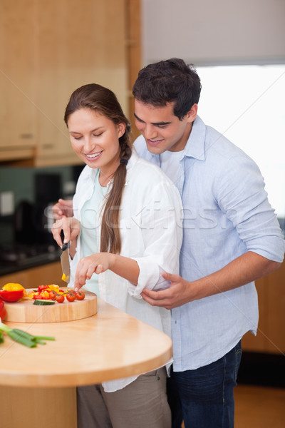 Retrato hombre ensenanza cocinar esposa cocina Foto stock © wavebreak_media