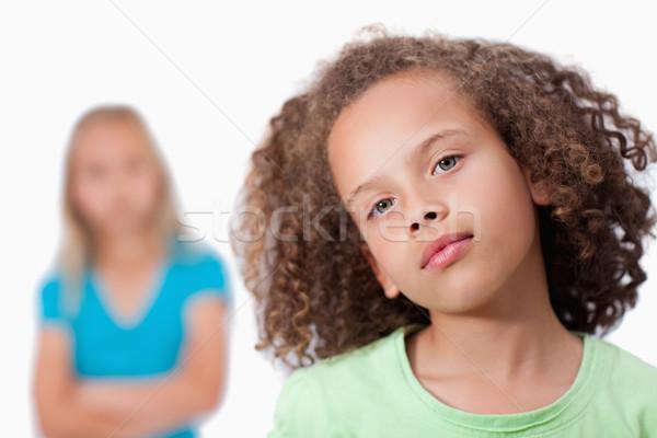 Meisje poseren vriend witte gezicht school Stockfoto © wavebreak_media