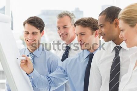Mosolyog elarusítónő kollégák mögött fehér üzlet Stock fotó © wavebreak_media