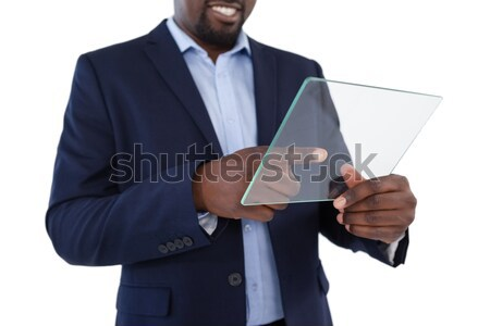 Close up of business card being shown by saleswoman against a white background Stock photo © wavebreak_media