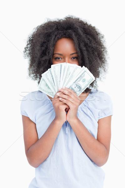 Fürtös nő rejtőzködik arc mögött ventillátor Stock fotó © wavebreak_media