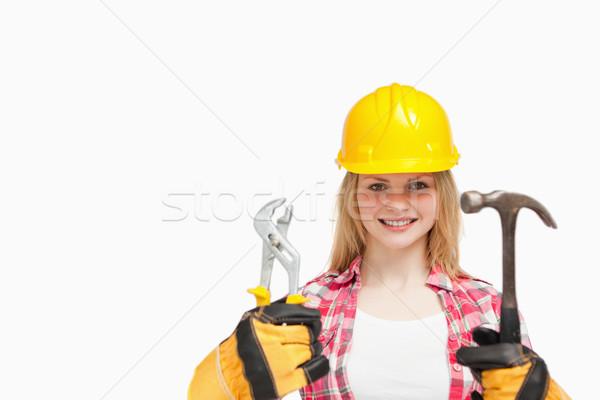Femme souriante blanche heureux travaux Photo stock © wavebreak_media