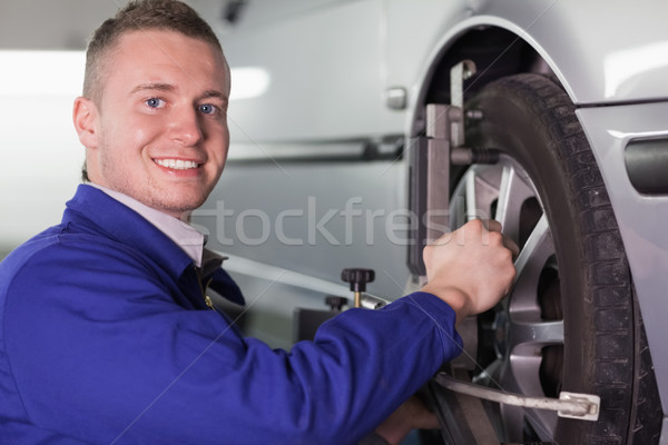 Mekanik araba tekerlek garaj hizmet motor Stok fotoğraf © wavebreak_media