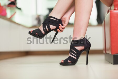 Stock fotó: Fekete · cipők · butik · nő · divat · modell