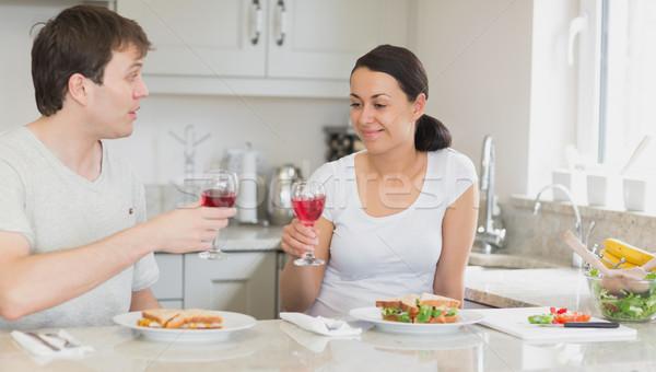 питьевой вино еды Бутерброды сидят Сток-фото © wavebreak_media