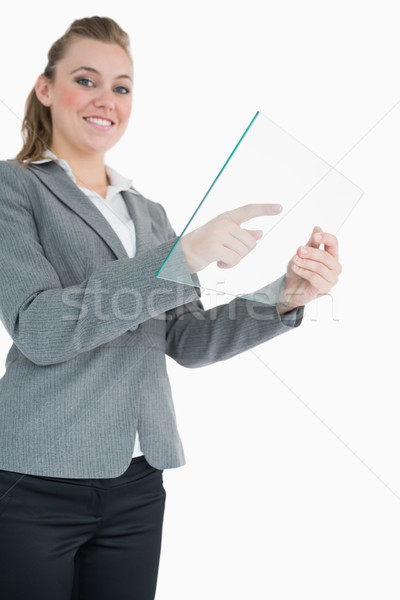 Empresária vidro deslizar sorridente sorrir feliz Foto stock © wavebreak_media