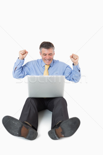 Stockfoto: Juichen · man · laptop · vloer · witte · computer