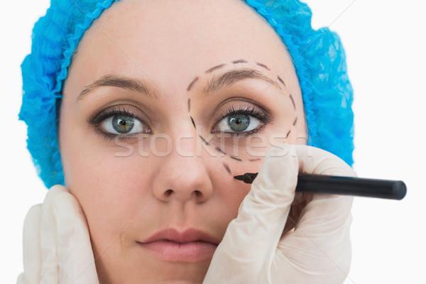 Stok fotoğraf: Plastik · cerrah · çizim · hatları · etrafında · göz