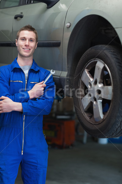 Mechanic with hand tool standing by car Stock photo © wavebreak_media