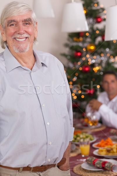 счастливым деда Постоянный Рождества обеденный стол дома Сток-фото © wavebreak_media
