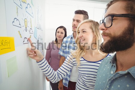 Creative team watching colleague add to flowchart Stock photo © wavebreak_media
