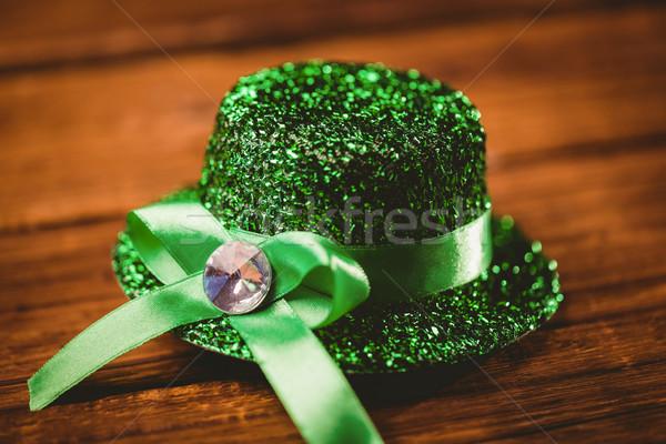 St Patrick's Day hoed houten tafel groene bureau Stockfoto © wavebreak_media