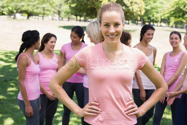 Stockfoto: Vrouwelijke · vrijwilliger · borstkanker · campagne · portret · gelukkig