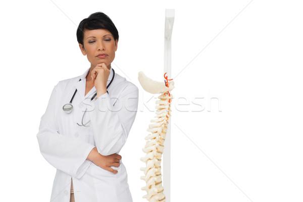 Thoughtful female doctor with skeleton model Stock photo © wavebreak_media