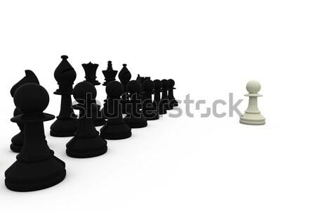 Bianco pedone nero pezzi scacchi Foto d'archivio © wavebreak_media