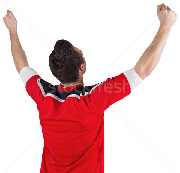 Izgatott futball ventillátor éljenez fehér sport Stock fotó © wavebreak_media