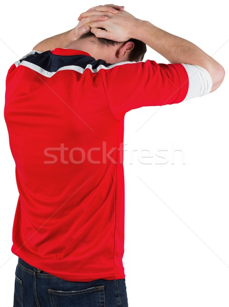 Decepcionado fútbol ventilador mirando hacia abajo blanco deporte Foto stock © wavebreak_media