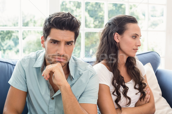 Attractive couple not talking on the couch Stock photo © wavebreak_media