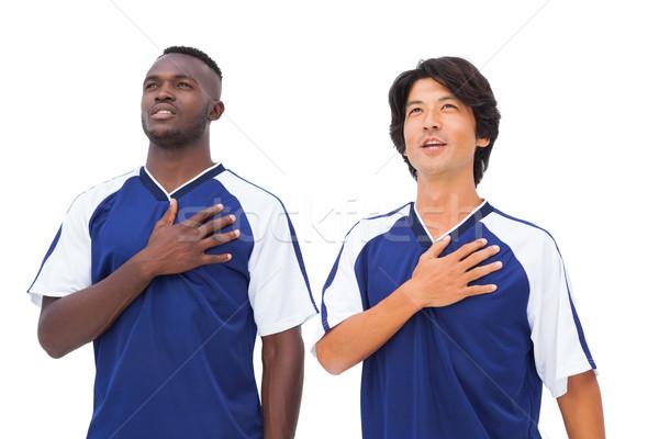 Futball játékosok kék kezek szív fehér Stock fotó © wavebreak_media