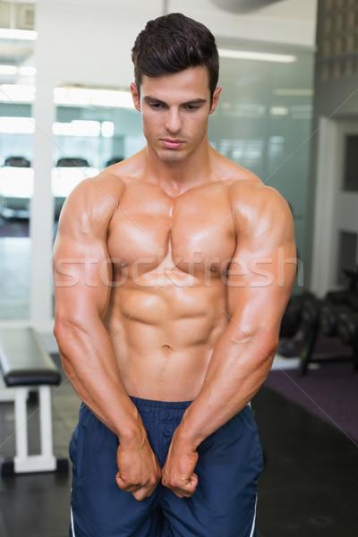 Gömleksiz kas adam kaslar spor salonu portre Stok fotoğraf © wavebreak_media