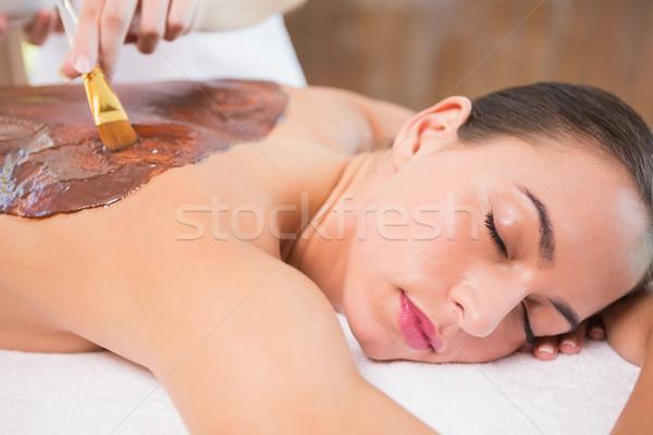 Vonzó nő csokoládé hát maszk fürdő központ Stock fotó © wavebreak_media